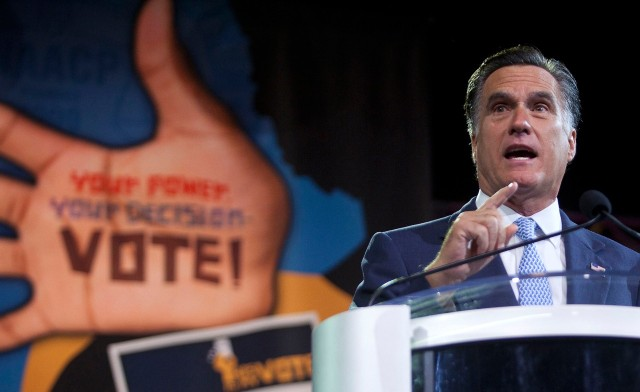 Republican presidential candidate Mitt Romney speaking at the NAACP convention.