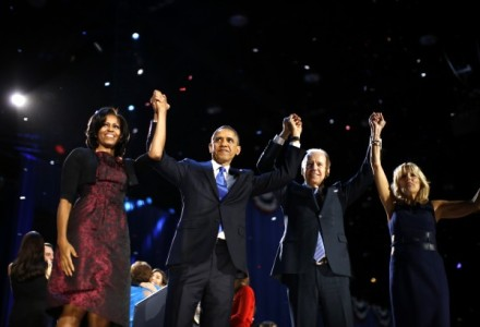 The Obamas and Bidens celebrate reelection in Chicago last night. Image Credit: Reuters