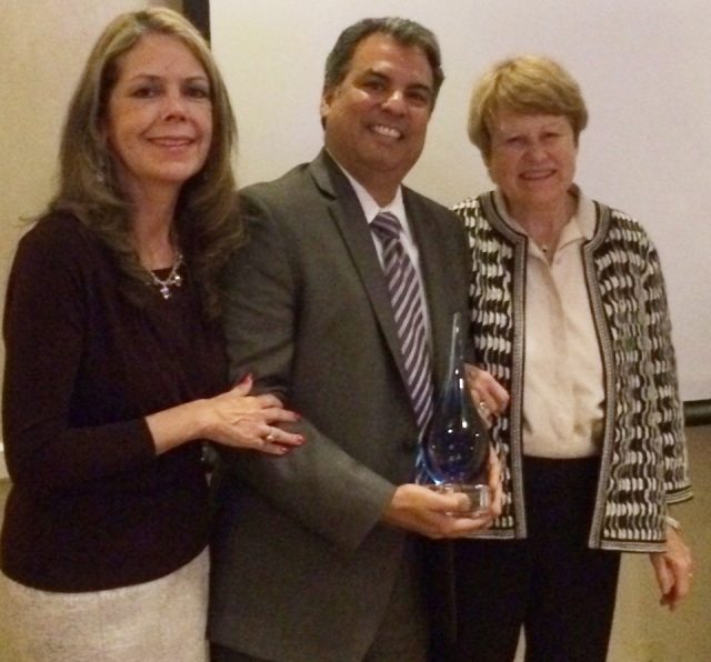 LAAAC's Co-Founders and Chairs, Dr. Marie Torres, Rigo Saborio, MSG, and June Simmons, MSW, receiving CEMHAC's Older Adult Advocate Award